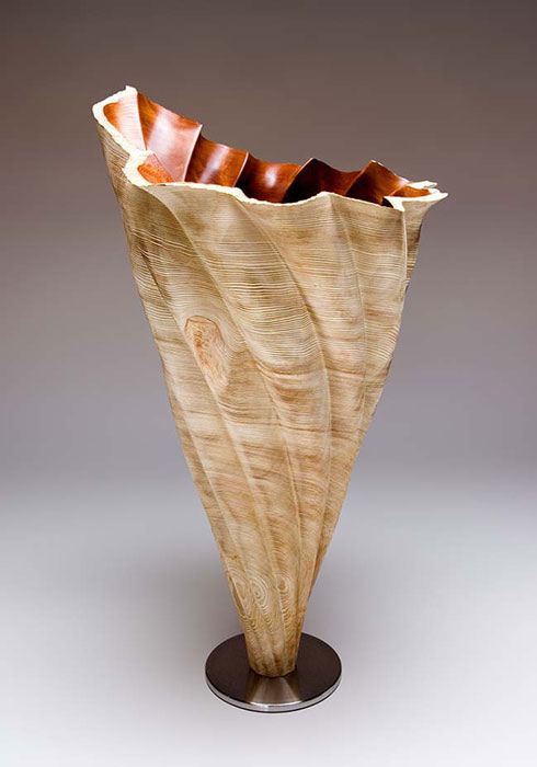 "Ancient Forest Landscape Series Vortex #354""h x 26""w x 26""dCurly Redwood"